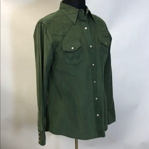 Olive Green Corduroy Pearl Snap